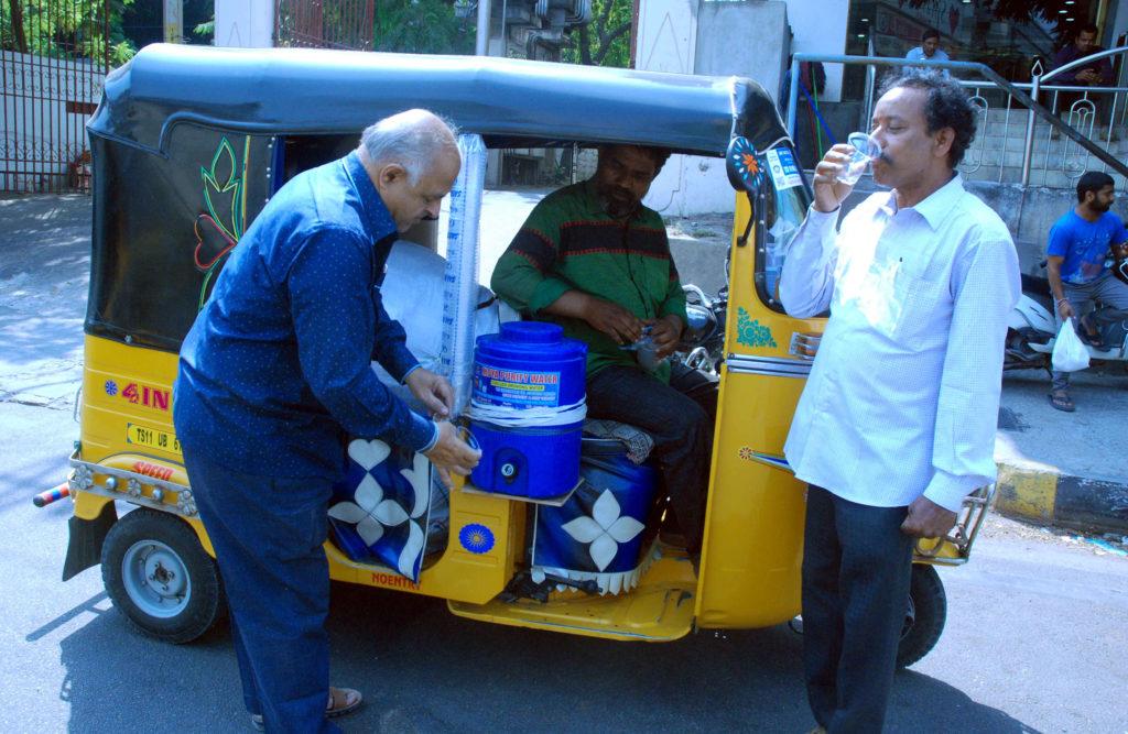 Auto driver Shaik Saleem works socially in summer
