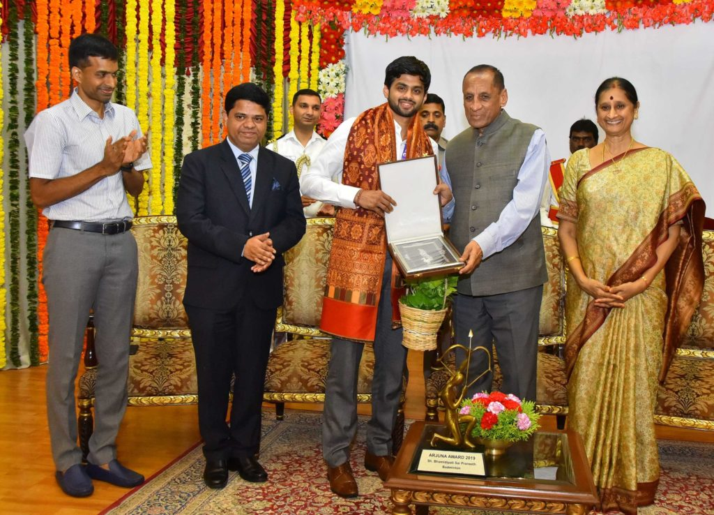 Bhamidipati Sai Praneeth was praised at Raj Bhavan for his badminton
