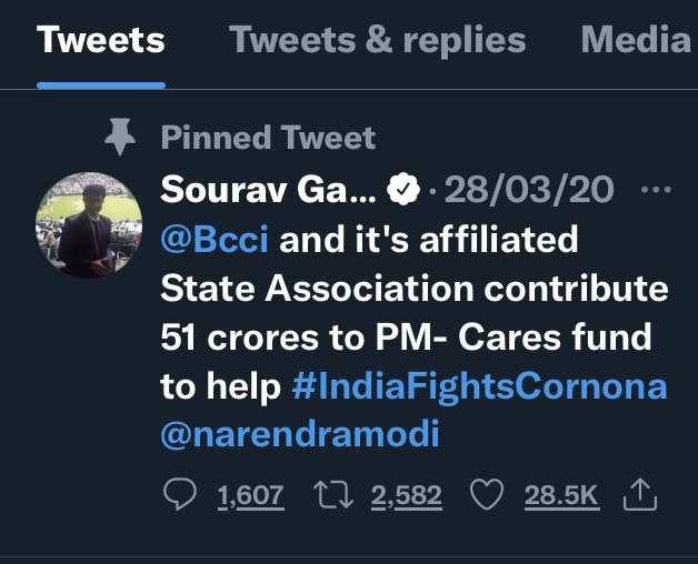 Sourav Ganguly Reminds PM Care Fund Donation Of 51 Crores